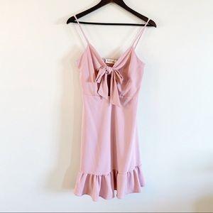 Peach Love California Pink Tie Ruffle Mini Dress